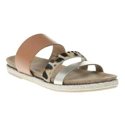 New Womens SOLE Tan Multi Faith Leather Sandals Espadrilles Slip On