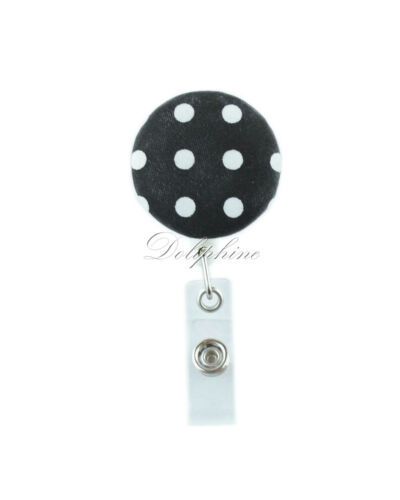 Classic Pattern Fabric Reel Retractable ID Badge Holder with Belt Clip