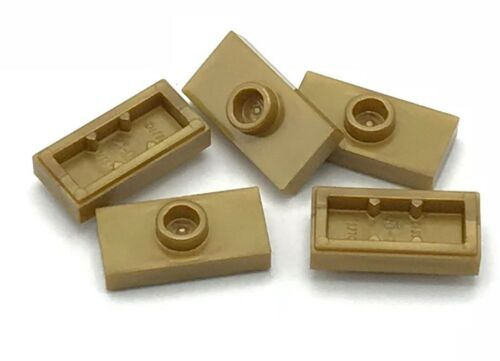 Lego 5 New Pearl Gold Plates Modified 1 x 2 with 1 Stud with Groove Pieces