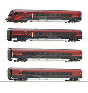 Roco-H0-64188-Wagenset-034-Railjet-034-der-OBB-034-mit-Italienzulassung-034-1-87-NEU-OVP