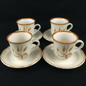 Lot-of-4-VTG-Cups-and-Saucers-by-Sango-Country-Life-Autumn-Wheat-2390-Korea