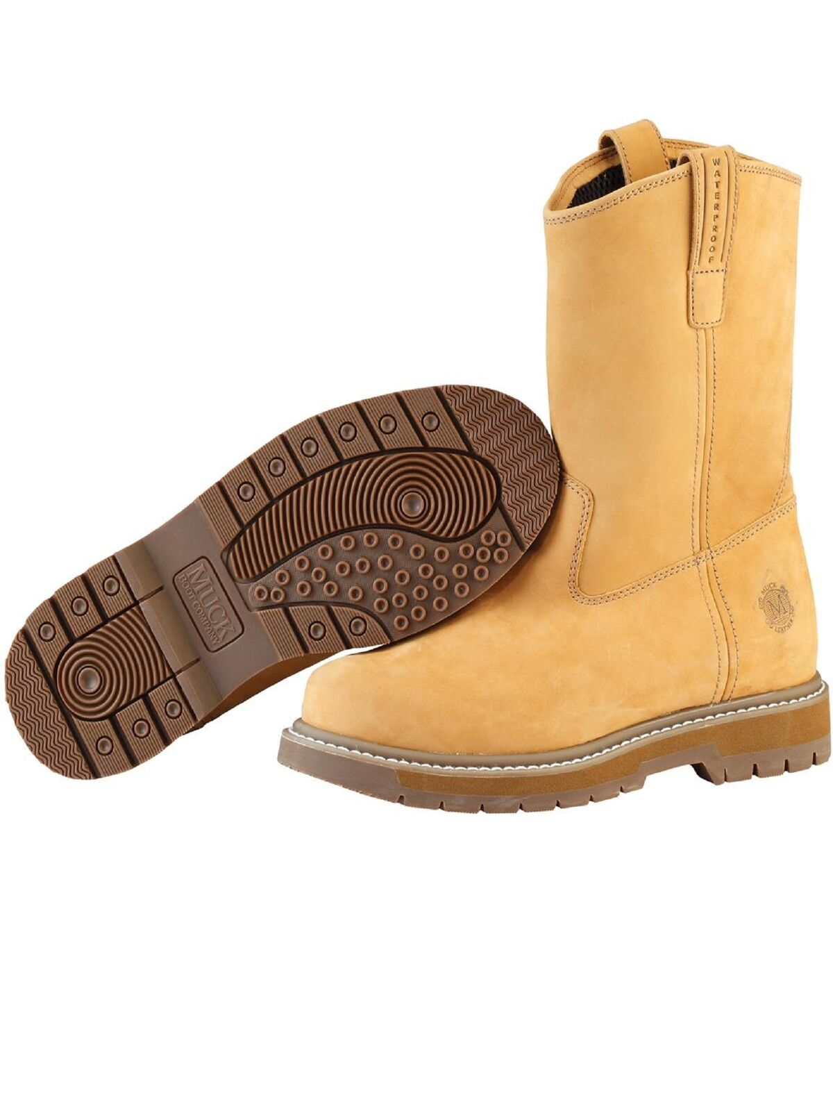 MuckBoots Men's Wheat Wellie Classic Composite Toe Work Boot, Size 7W