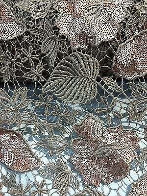 """Bronze Floral Leaf Sequins Lace 2-Way Stretch 50"""" Wide Fabric Sold By The Yard"""