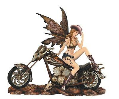 "13"" Cowgirl Fairy on Motorcycle Statue Figurine Figure Fairies Magic Western"