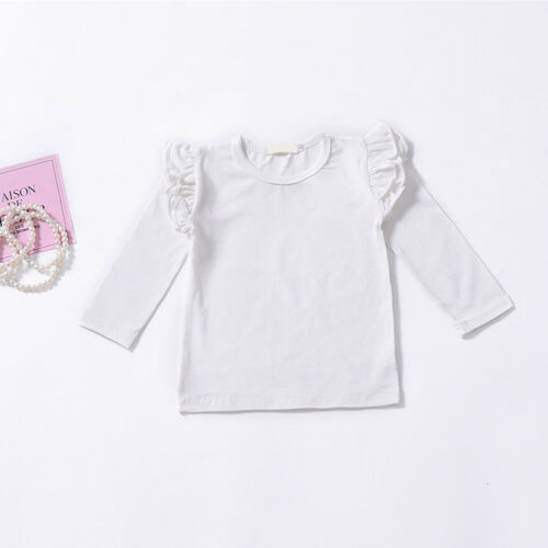 Kid Girls Baby Flutter Long Sleeve Ruffle Plain Tops T-shirt Pullover Clothing