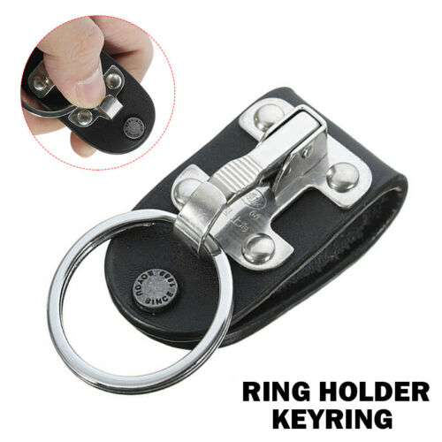 Genuine Leather Stainless Steel Detachable Key Chain Belt Clip Ring Holder 1PC