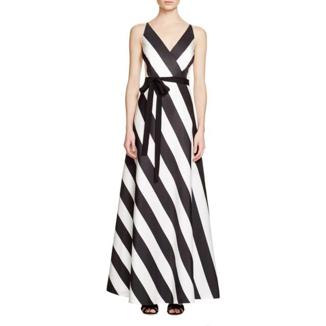 Phoebe Black & White Striped Double V-neck A-line Evening Gown 4   eBay