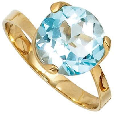 Other Fine Rings Jobo Damen Ring 60mm 585 Gold Gelbgold 1 Blautopas Hellblau Blau Goldring Topasr Profit Small