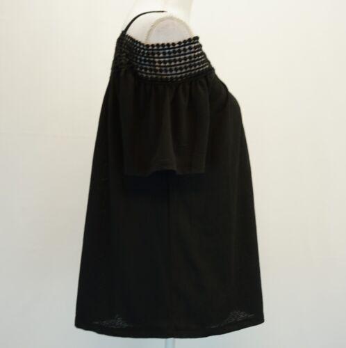 Cable /& Gauge Womens Top Crochet Trim Cold Shoulder Short Sleeve Blouse Black