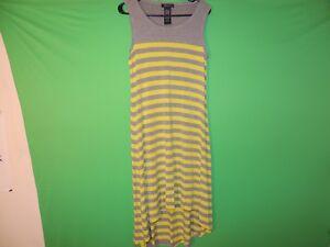 Spense-Womens-Size-Missy-L-Large-Gray-Yellow-Sleeveless-Striped-Dress