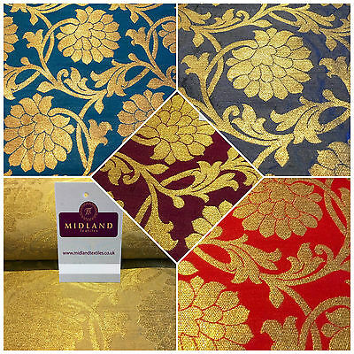 "Indian Floral gold metallic banarsi faux silk Brocade fabric 44"" M710 Mtex"