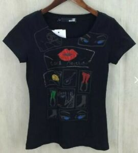 BNWOT LOVE MOSCHINO women's black fitted graphic embellished logo T-shirt US8