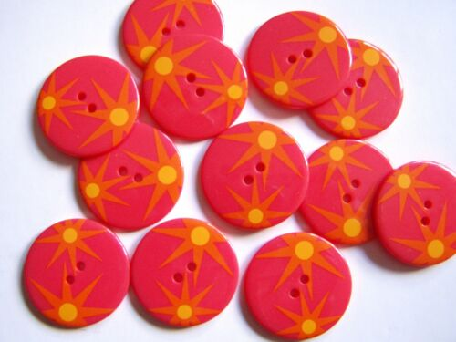 12 LARGE GLOSSY FUN RETRO FANCY DRESS CLOWN BUTTONS 34mm Choice of Colours