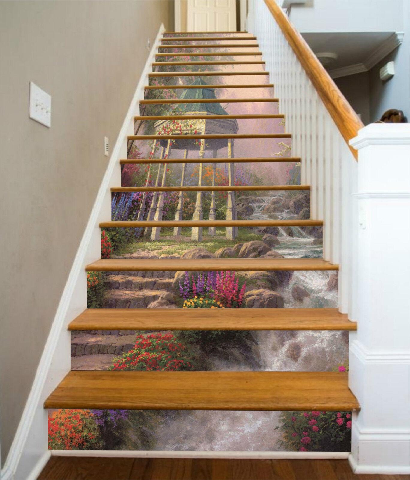3D Fluss Pavillon 2 Stair Risers Dekoration Fototapete Vinyl Aufkleber Tapete DE