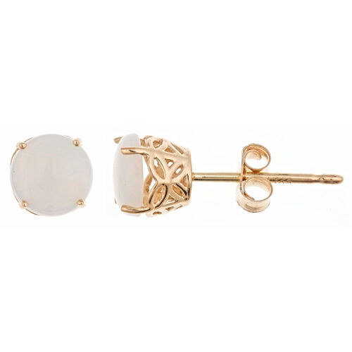 .60CT OPAL STUD EARRINGS 5mm ROUND 14KT YELLOW GOLD OCTOBER BIRTHSTONE