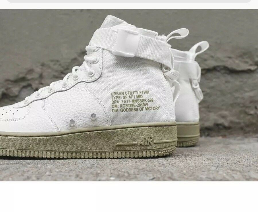 New Nike SF AF1 Mid Ivory Olive Special Field Air Force 917753-101 SZ 9