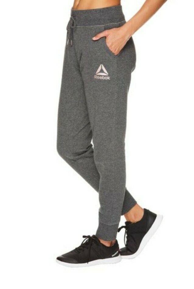 Women's Reebok Glimmer Cuffed Jogger Sweat Pant -Size XL- Charcoal Heather Gray