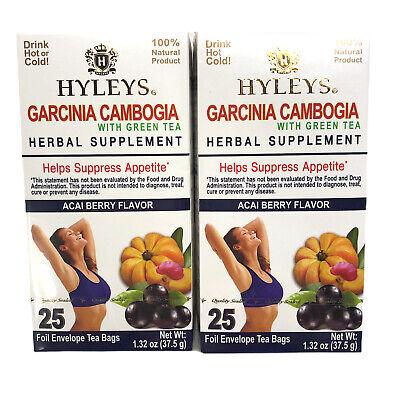2 Pack Hyleys Garcinia Cambogia Green Tea 50 Count Acai Berry Slim