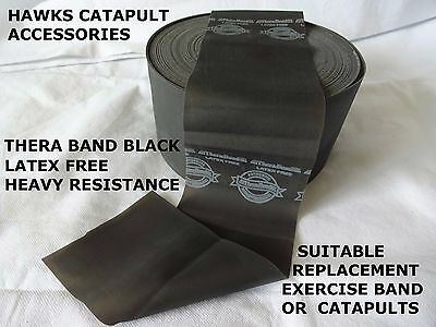 Hawks (SALE) Latex Free Thera-band Black from 0.5m up to 4.5 met catapult