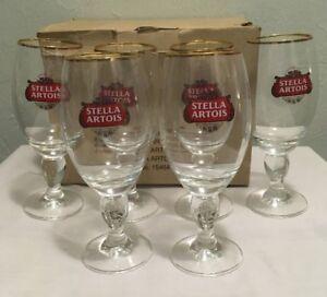 Set-of-6-Authentic-Stella-Artois-Original-Gold-Rim-Beer-Glass-Chalice-33CL