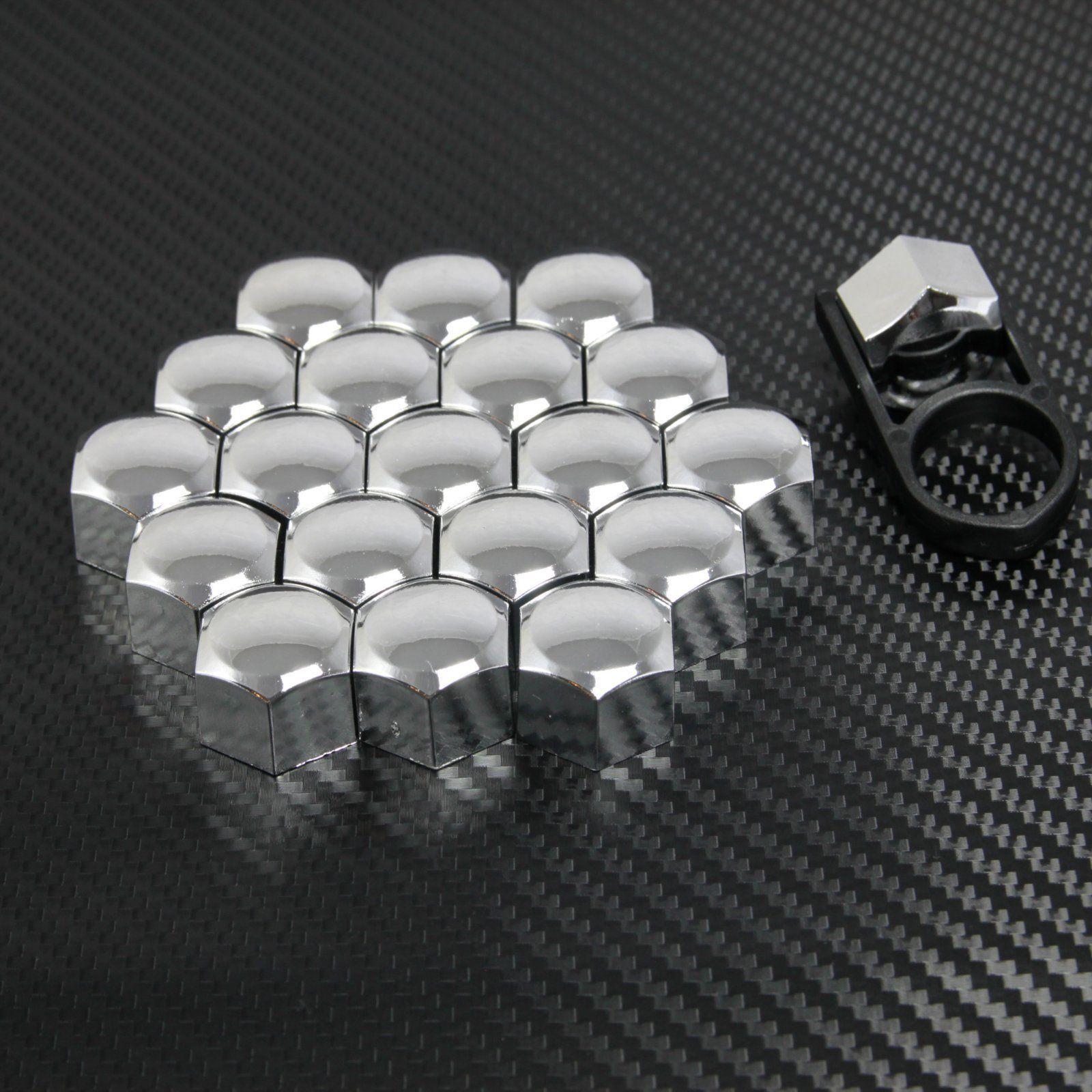 20 Auto Abdeckung Radschraube Kappe 17mm  Abzieher chrom für OPEL Vectra Tigra