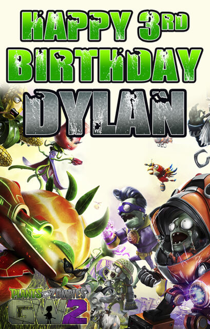 2 x PLANTS V ZOMBIES 2 PERSONALISED BIRTHDAY BANNERS
