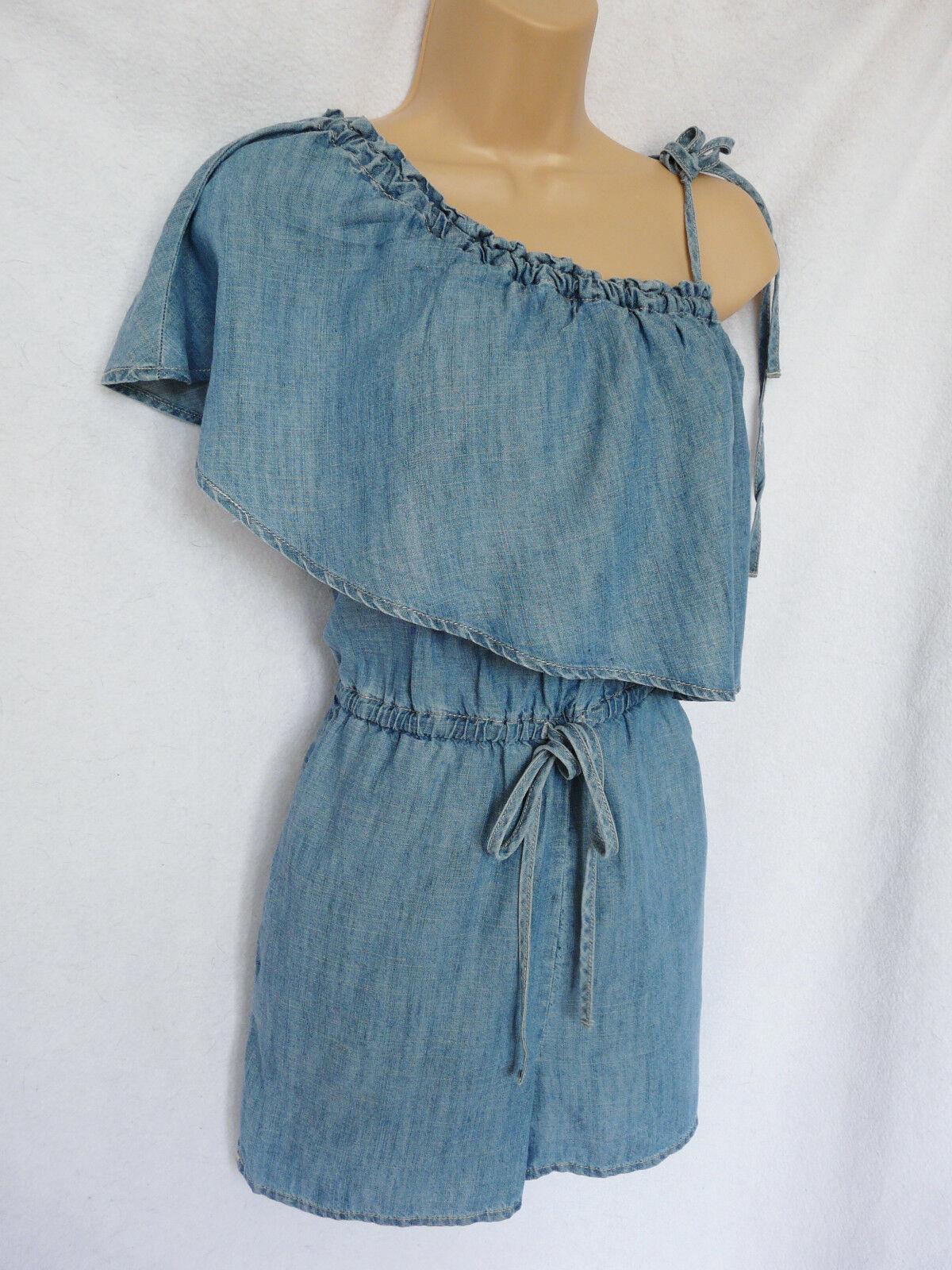 BNWT NEXT soft denim look summer bluee elasticated waist one shoulder playsuit