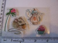 Mouse Cupcake Rose Teapot Clear Rubber Stamps Verity Rose Cupcake Accessories