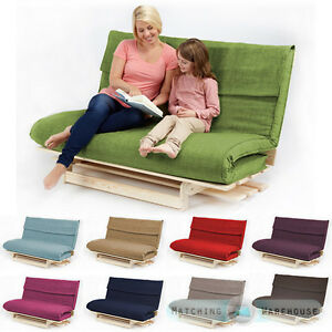 Image Is Loading Double 2 3 Seater Textured Fabric Wood Futon