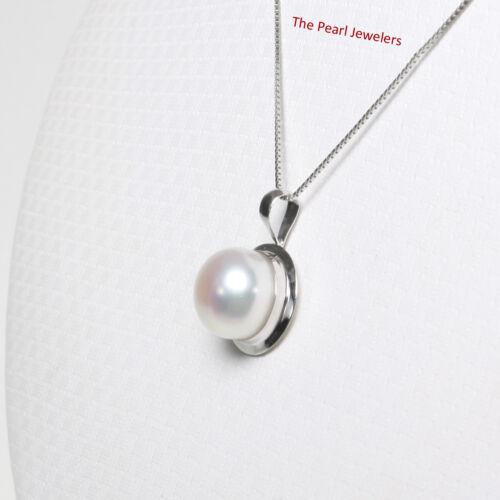14k White Gold Encircles Design Genuine 9-9.5mm White Cultured Pearl Pendant TPJ