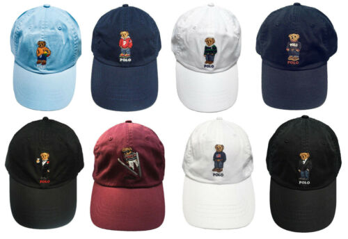 Polo Ralph Lauren Bear Mens Chino Adjustable Ball Cap Hat Cotton