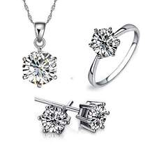 NEW Fashion Women Jewelry Set Silver Plated Rhinestone Necklace Earrings Ring