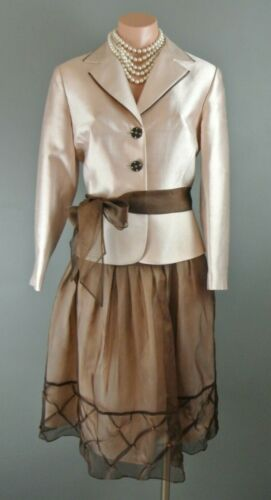 Kay Unger Pink Brown 2pc skirt suit set 6 Silk For