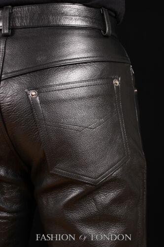 Men/'s /'501 JEANS STYLE/' Black Cowhide Real Classic Leather Biker Trouser Pants