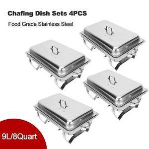 4-Pack-Catering-Stainless-Steel-Chafer-Chafing-Dish-Sets-9L-8QT-Full-Size-Buffet