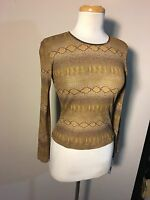 Xoxo Jeans Woman's Brown Animal Print Long Sleeve Top Size Medium