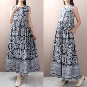 UK-8-24-Women-Sleeveless-Tank-Vest-Floral-Clubwear-Beach-Long-Maxi-Dress-Kaftan