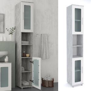 badschrank rayk 190 cm wei grau beton badezimmer hochschrank regal badregal. Black Bedroom Furniture Sets. Home Design Ideas