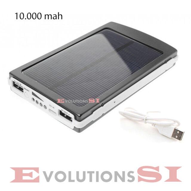 CARGADOR DE BATERIAS SOLAR POWER BANK 10.000mAh TABLET MOVIL IPHONE USB LED