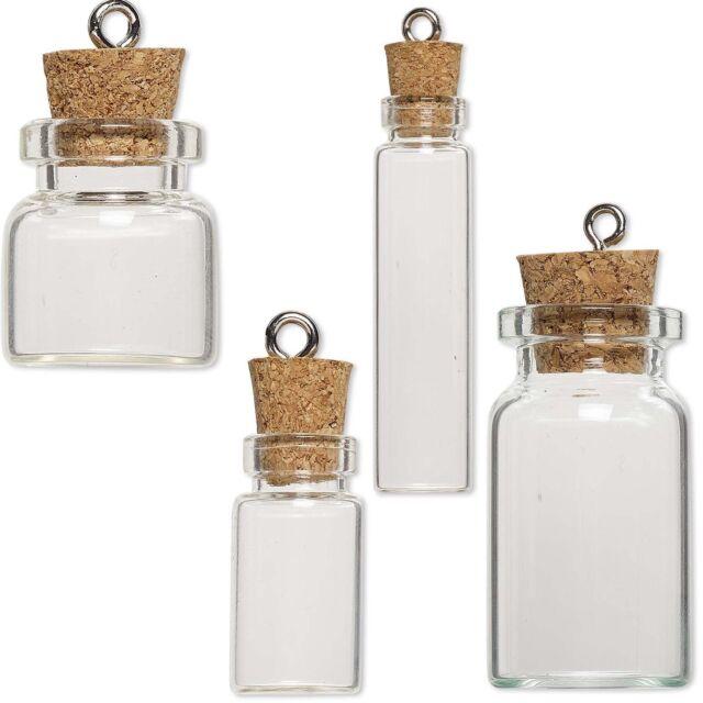 10 Little Clear Glass Bottle Keepsake Jar Charm Pendants W/ Cork Lid Silver Loop