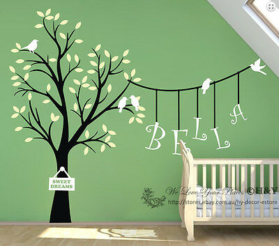 Custom Personalised Name Birds Tree Wall Sticker Vinyl Decals Kids Nursery Decor