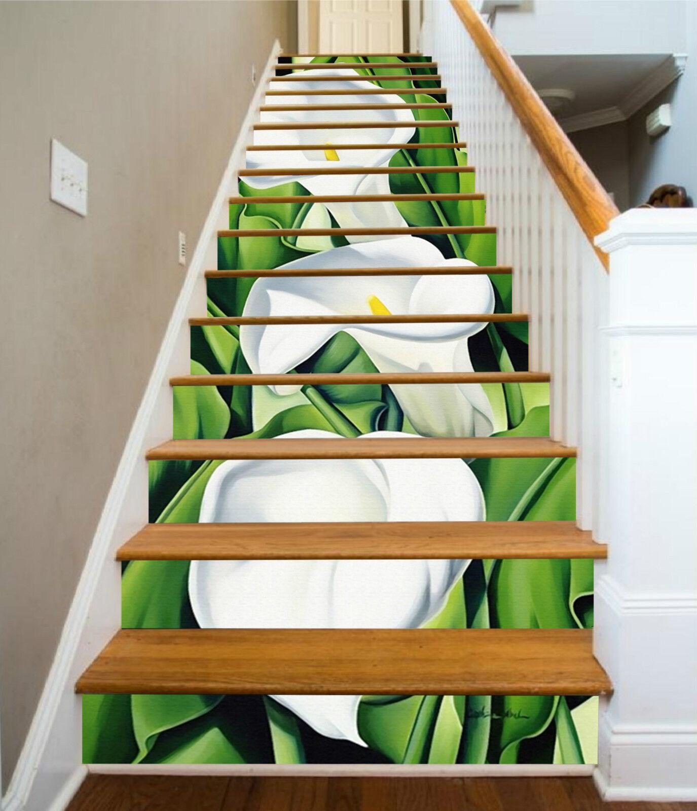 3D Weiß Blaume 054 Stair Risers Dekoration Fototapete Vinyl Aufkleber Tapete DE