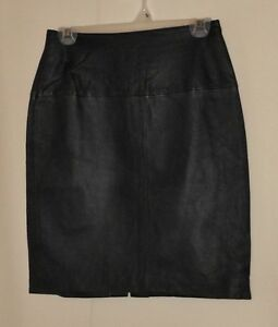 VINTAGE RETRO LEATHER SKIRT PENCIL STRAIGHT HIGH WAIST MINIMAL ...
