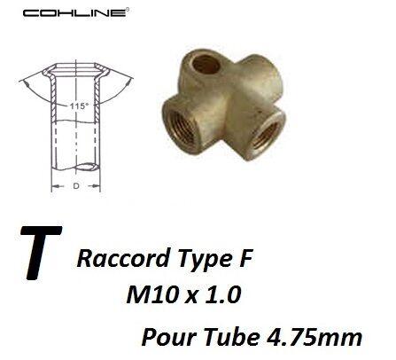 2x RACCORD EN T DE TUYAUX RIGIDES DE FREIN M10 x 1 pour Chevrolet
