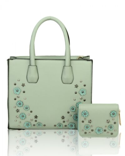 UK NEW LADIES 2IN1 DIAMANTE AND FLOWER STUD TOP HANDLE WITH PURSE