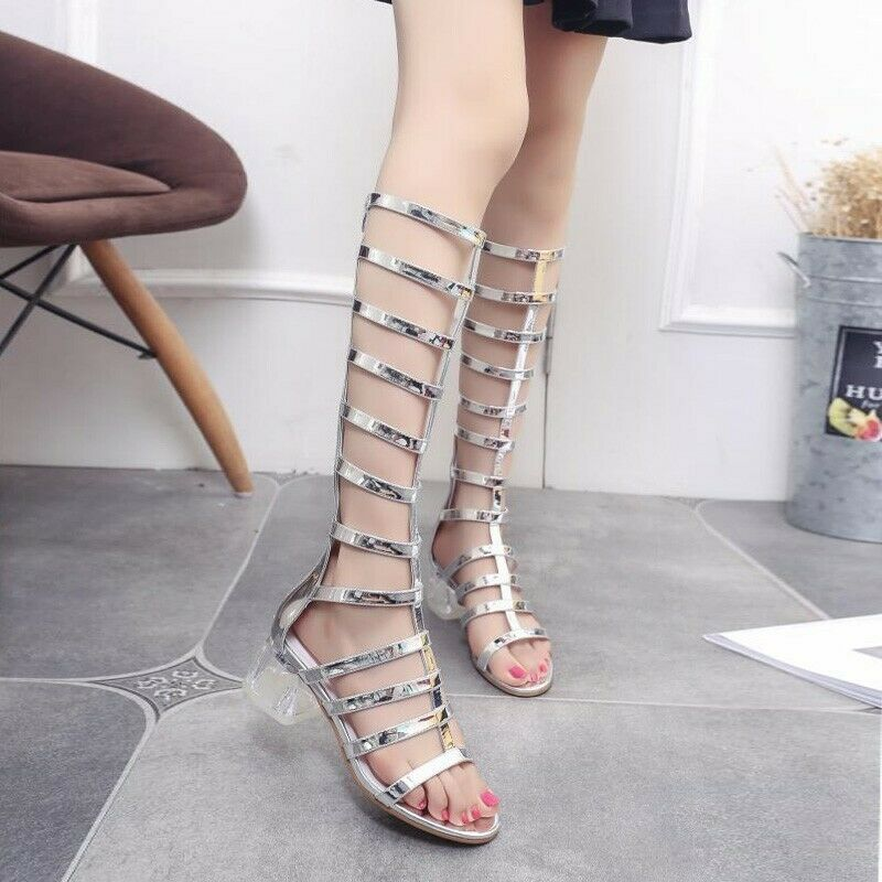 Womens Pumps Strap Open Toe Crystal Block Heel Side Zipper Boots Sandals Fashion