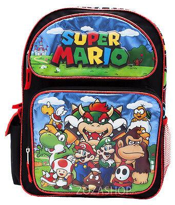 "Large 16/"" School Backpack Luigi Boy Backpack Super Mario Bros"