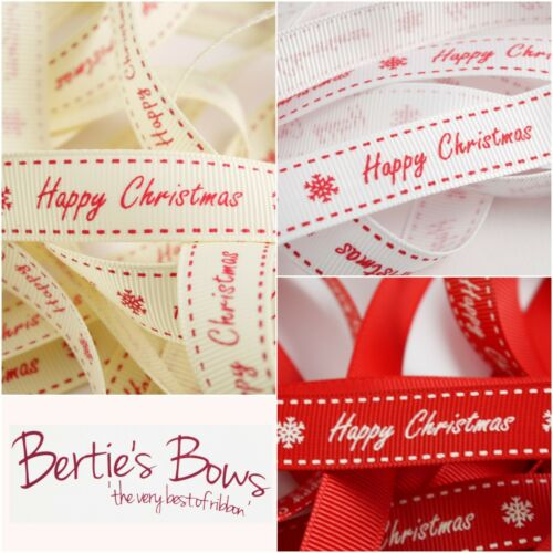 3 Colours Multi Save Bertie/'s Bows Happy Christmas 16mm grosgrain Ribbon
