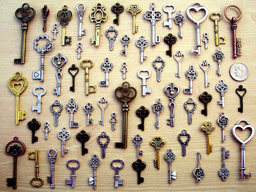 121 New Keys Antique Vintage Style Steampunk Findings Old Beads Charms Craft C3