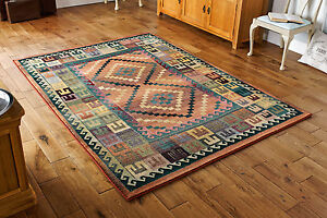 QUALITY-ETHNIC-Aztec-Gabbeh-Rustic-Tribal-Geometric-look-Durable-Area-Rug-Runner